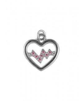 Pendentif Battement de Coeur Argent-Rose  petit