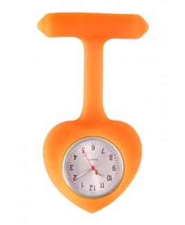 Montre Infirmière Coeur en Silicone Orange