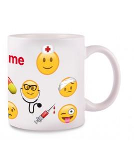 Tasse Emoji Nurse avec Nom Imprimé