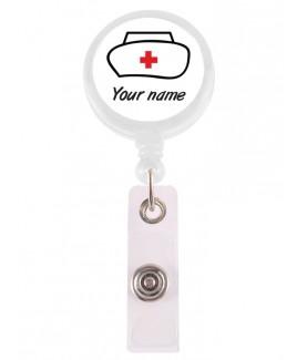 Porte Badge Enrouleur Infirmière avec Nom Imprimé
