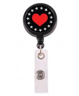 Porte Badge Enrouleur Heart Bling