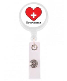 Porte Badge Enrouleur Coeur Rouge avec Nom Imprimé