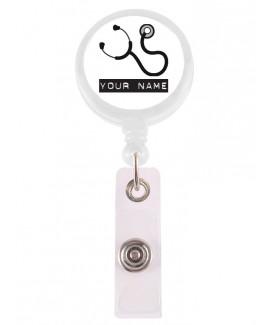 Porte Badge Enrouleur Stéthoscope avec Nom Imprimé